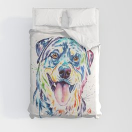 Rottweiler Pet Portrait Colourful Watercolor Painting Comforters