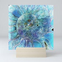 Aqua seashell - mother of pearl - Beautiful backdrop Mini Art Print