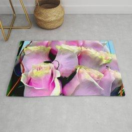 Soft Pastel Pink Gentle Rose Buds Floral Bouquet Rug