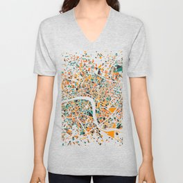 London Mosaic Map #4 Unisex V-Neck