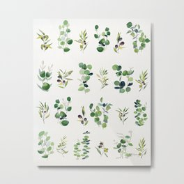 Eucalyptus and Olive Pattern 2  Metal Print