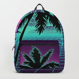 Retro 80s Vaporwave Sunset Sunrise With Outrun style grid print Backpack