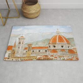 Italy Florence Cathedral Duomo watercolor painting Rug