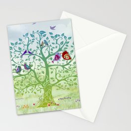 Love Birds in a Colorful Tree Stationery Cards