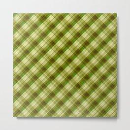 Green, olive, plaid, olive plaid, plain plaid, oblique plaid Metal Print