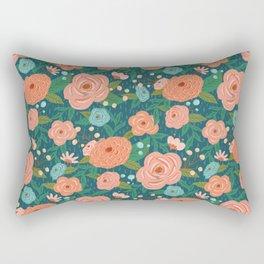 Secret Garden - Blue Rectangular Pillow