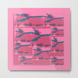 Pink Silk Barbed Wire, fiber art mixed media, abstract Metal Print
