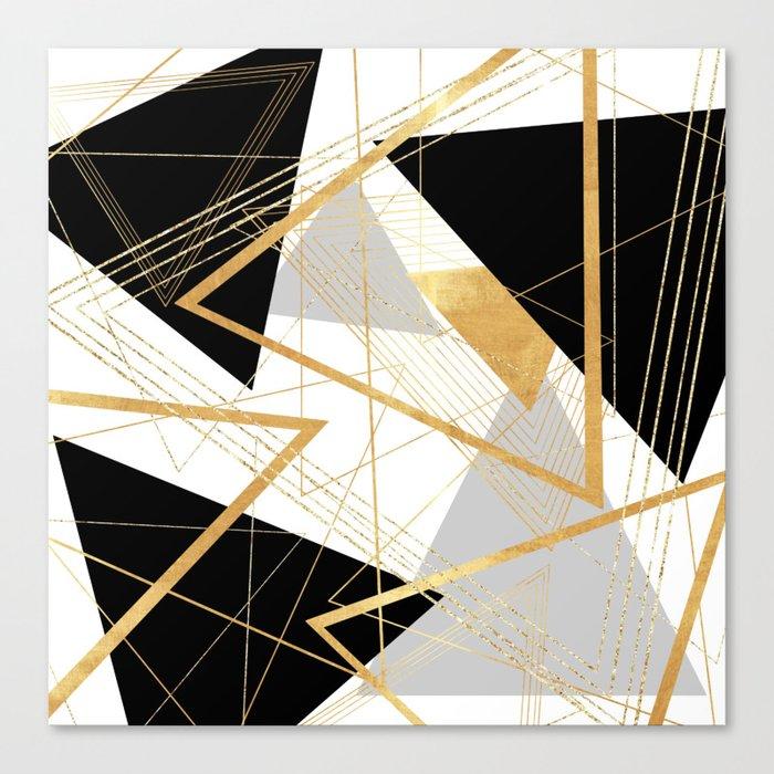 Black and Gold Geometric Leinwanddruck