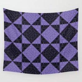 Two Tone Purple Damask Geometric Pattern Wall Tapestry
