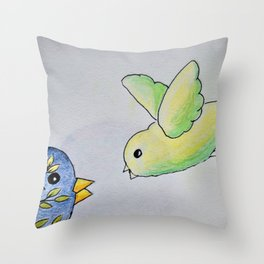 Little bird and mom or dad Throw Pillow