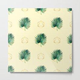 Minimal Tropical Palm Leaf - Palm And Gold - Gold Geometric Pattern 2 - Modern Tropical Wall Art Metal Print