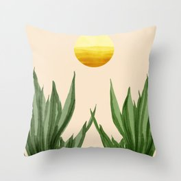 Snake plants with sunrise  Throw Pillow