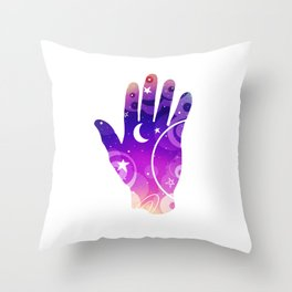 Touching Outer Space Hand/ Purple Version/Moon, Stars, Planets Minimal Design/Astronomy Lovers Throw Pillow