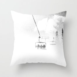 Snow Blasted // Black and White Ride on the Skilift in Blizzard Wind Throw Pillow
