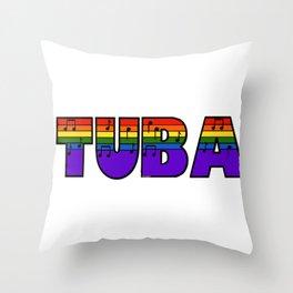 Rainbow Tuba Throw Pillow