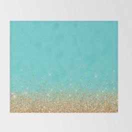 Sparkling gold glitter confetti on aqua teal damask background Throw Blanket