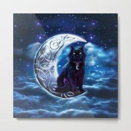 Black Cat Celtic Crescent Moon Metal Print