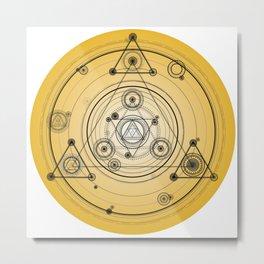 Mustard yellow distressed mandala circle with alchemy symbols Metal Print