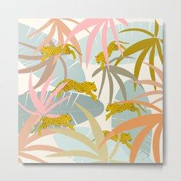 Leopard Jungle Jump 2 Metal Print