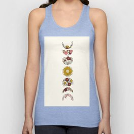 Floral Phases of the Moon Unisex Tanktop