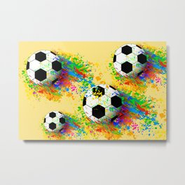 Football soccer sports colorful graphic design Metal Print