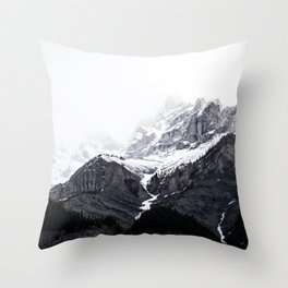 Moody snow capped Mountain Peaks - Nature Photography Throw Pillow