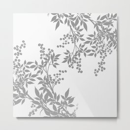 LEAF TOILE GRAY AND WHITE PATTERN Metal Print
