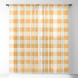 Golden Yellow Gingham  Sheer Curtain