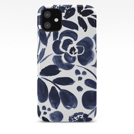 Navy Floral iPhone Case