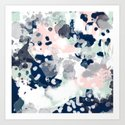 Melia - abstract minimal painting acrylic watercolor nursery mint navy pink by charlottewinter