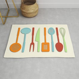 Kitchen Utensil Colored Silhouettes on Cream II Rug