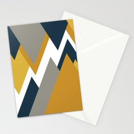Geometricscape Modern Angular Pattern in Light and Dark Mustard, Gray, and Navy Blue on White  Stationery Cards