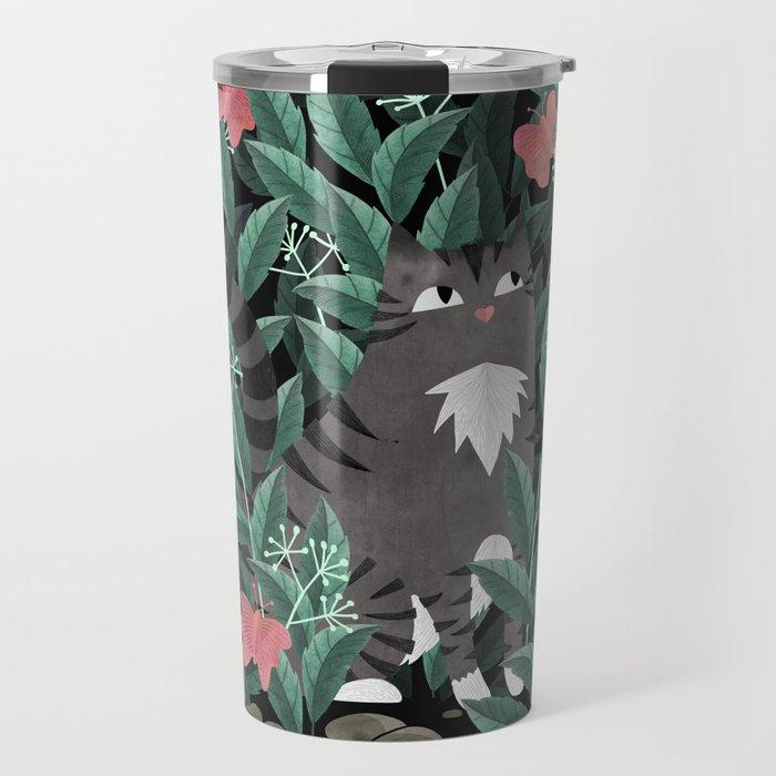Butterfly Garden (Tabby Cat Version) Travel Mug
