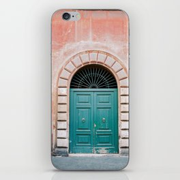 Turquoise Green door in Trastevere, Rome. Travel print Italy - film photography wall art colourful. iPhone Skin