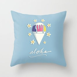 Aloha Shave Ice Throw Pillow