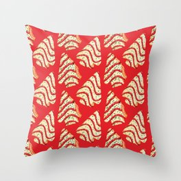 Christmas Tree Cakes Pattern - Red Throw Pillow