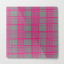 Juicy strokes of gray cells with jagged strawberry stripes and lines. Metal Print