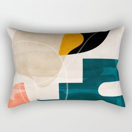 mid century shapes abstract painting Rectangular Pillow