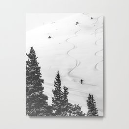 Backcountry Skier // Fresh Powder Snow Mountain Ski Landscape Black and White Photography Vibes Metal Print