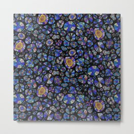 Barca Dots Pattern blue/purple/black Metal Print