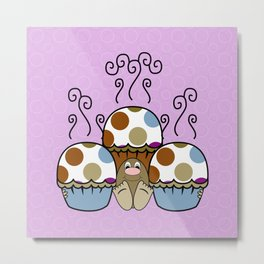 Cute Monster With Blue And Brown Polkadot Cupcakes Metal Print