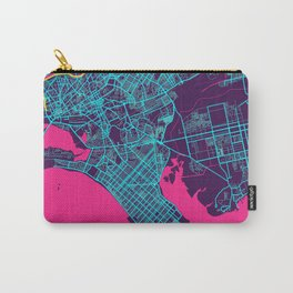 Karachi Neon City Map, Karachi Minimalist City Map Art Print Carry-All Pouch