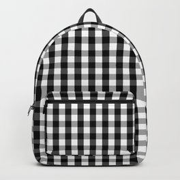 Classic Black & White Gingham Check Pattern Backpack