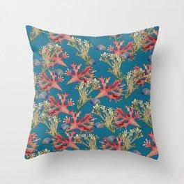 West Coast Seaweed and Seashell  Throw Pillow