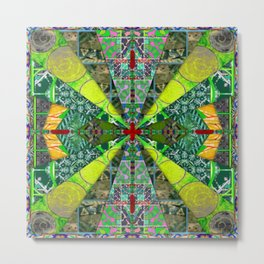 number 238 green on green with red pattern Metal Print