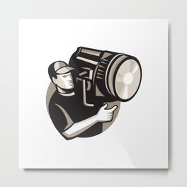 film crew with spotlight fresnel light Metal Print
