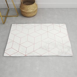 Rose Gold Geometric White Mable Cubes Rug