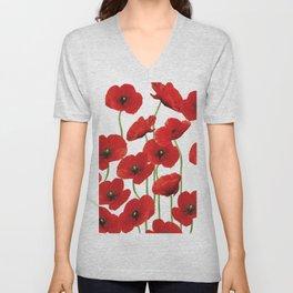 Poppies Flowers red field white background pattern Unisex V-Neck