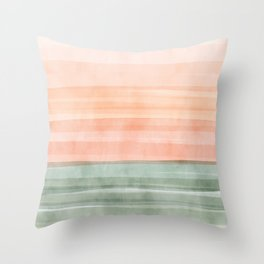 Soft Green Waves on a Peach Horizon, Abstract _watercolor color block Throw Pillow