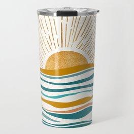 The Sun and The Sea - Gold and Teal Travel Mug